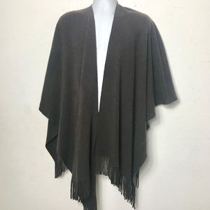 Accessories - Wrap Poncho Ruana Fringed Dark Chocolate Brown OS